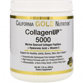 California Gold Nutrition CollagenUP 5000 + Peptides + Hyaluronic Acid + C, 205 g