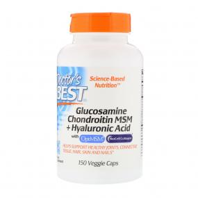 Doctor's best Glucosamine Chondroitin MSM + Hyaluronic Acid with BioCell Collagen 150 Veggie Caps