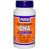 Now Foods Kid's Chewable DHA 100 mg Fruit Flavor 60 Softgels