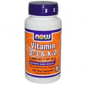 Now Foods Vitamin D-3 & K-2 120 vcaps